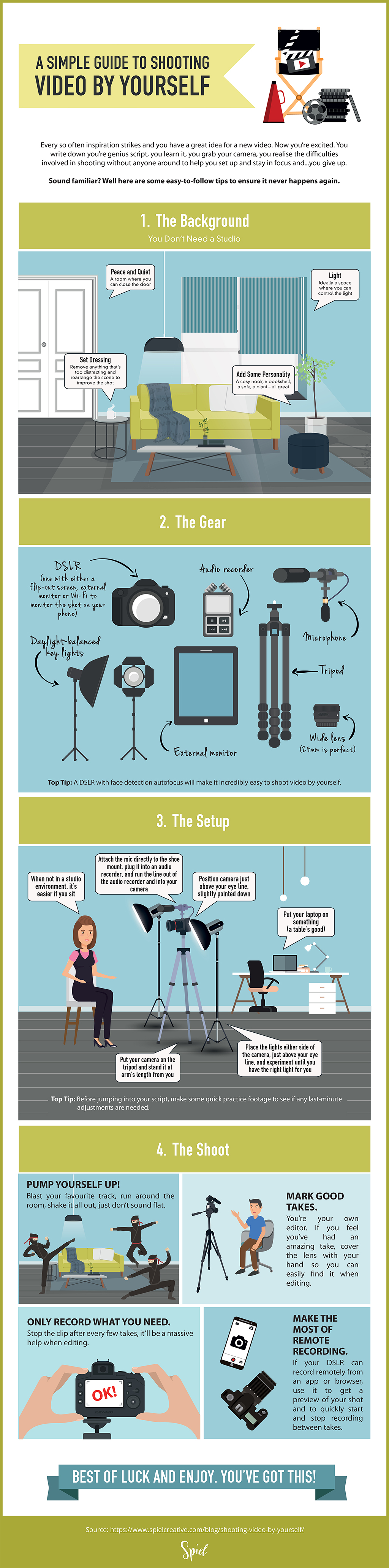 A Simple Guide to Shooting Video by Yourself - Infographic